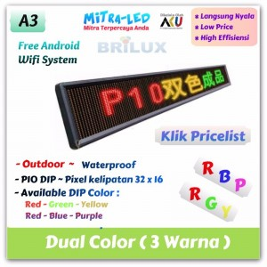 Daftar Harga Running Text P10 Moving Sign Langsung Pakai Dual Color / 3 Warna Outdoor
