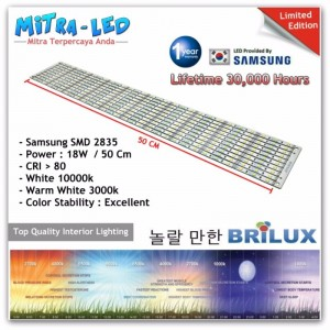 LED Rigid Strip Bar Samsung DC 12V 12W - 50cm SMD 2835 - BRILUX - C1