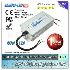 Power Supply 12V LED Rainproof 60W / 5A Garansi 1 Tahun - BRILUX - GR1