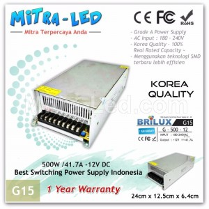 Brilux Switching Power Supply 12V DC 41.7A 500W | Garansi 1 Tahun - G15