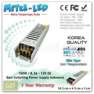 Slim Brilux Switching Power Supply 12V DC 8.3A 100W | Garansi 1 Tahun - G27
