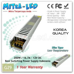 Slim Brilux Switching Power Supply 12V DC 16.7A 200W | Garansi 1 Tahun - G29