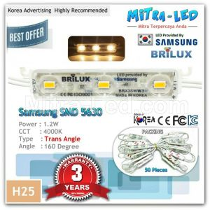 Samsung 5630 Warm White Brilux Trans Angle LED Module 3 Mata ( 1 Pack isi 50 Pcs ) - H25