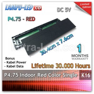 LED Panel Modul P4.75 Indoor MERAH - 30.4cm x 7.6cm - K16