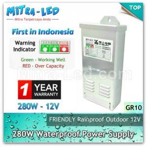 Power Supply 12V LED Rainproof 280W / 23A Garansi 1 Tahun - SANAN K SUN - GR10