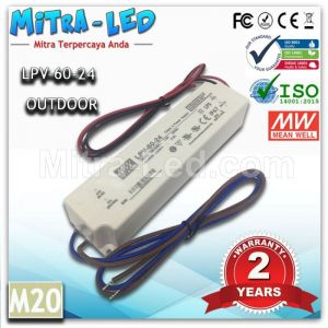 Original Meanwell UL&CE&CB 24V 2.5A IP 67 LED Driver LPV-60-24 - M20