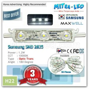 Samsung 2835 Maxwell Optic Trans LED Module 3 Mata ( 1 Pack isi 100 Pcs ) - H22