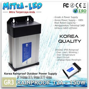 Power Supply 12V LED Rainproof 150W / 12.5A Garansi 1 Tahun - BRILUX - GR03